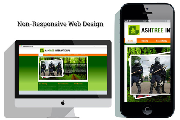 Traditioneel niet responsive webdesign